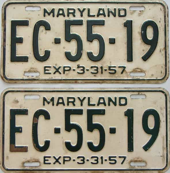 1957 Maryland  (Pair) license plate for sale