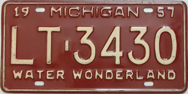 1957 Michigan  (Single) license plate for sale