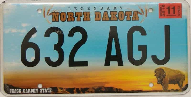 2016 North Dakota  (Single) license plate for sale