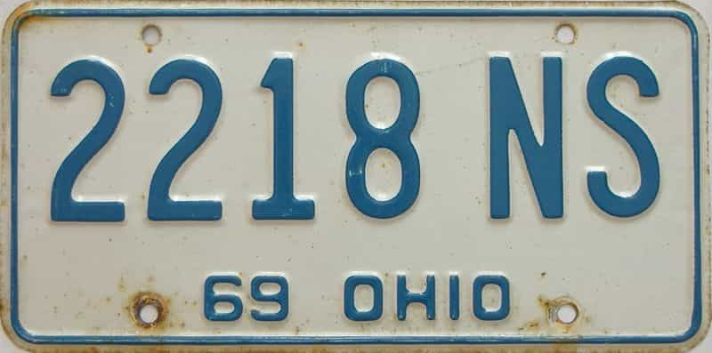 1969 Ohio  (Single) license plate for sale