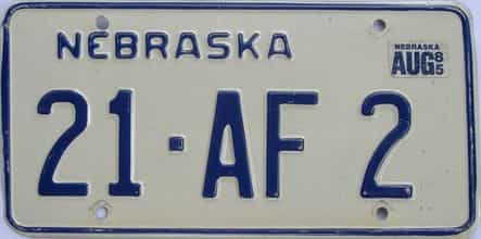 1985 Nebraska (Single) license plate for sale