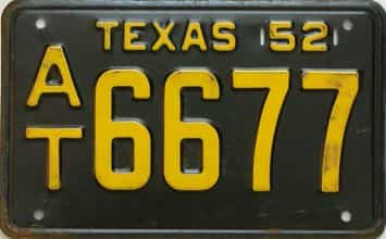 1952 Texas (Single) license plate for sale