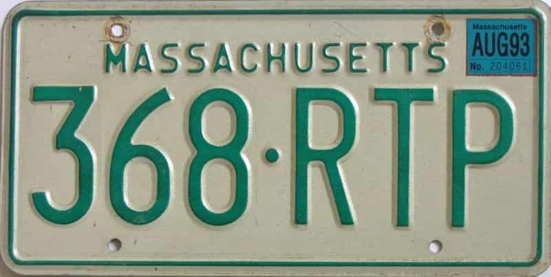 1993 Massachusetts license plate for sale