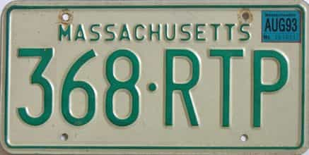 1993 Massachusetts license plate for sale
