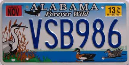 2013 Alabama license plate for sale