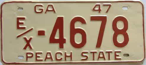 YOM 1947 Georgia (Repainted) license plate for sale