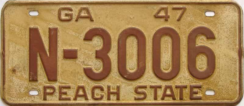 YOM 1947 Georgia license plate for sale