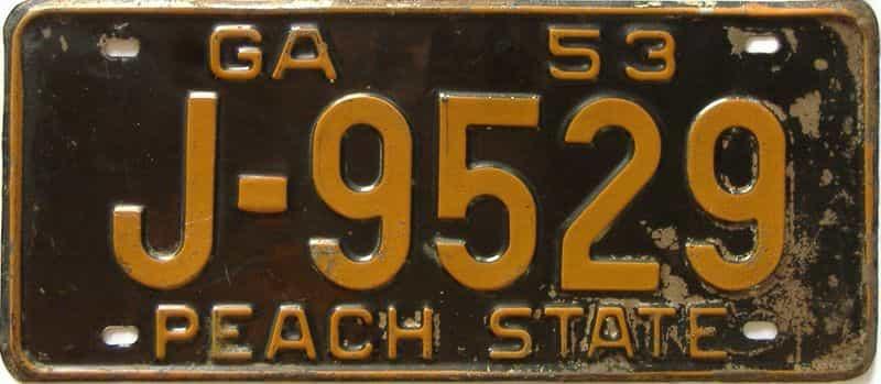 YOM 1953 Georgia license plate for sale
