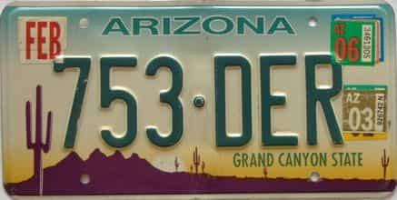 2006 Arizona license plate for sale