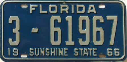 1966 Florida license plate for sale