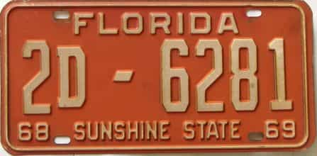 1969 Florida license plate for sale