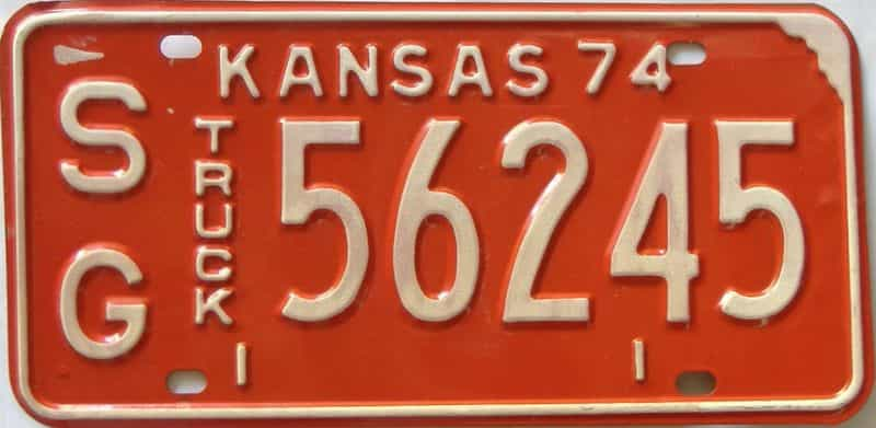 1974 Kansas  (Truck) license plate for sale