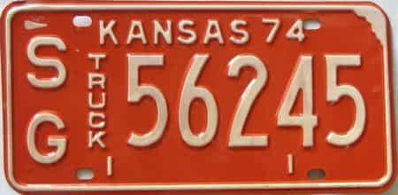1974 Kansas  (Truck) license plate for sale