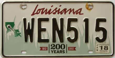 2018 Louisiana license plate for sale