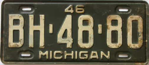 1946 Michigan license plate for sale