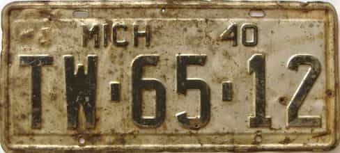 1940 Michigan (Single) license plate for sale