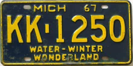 1967 Michigan license plate for sale