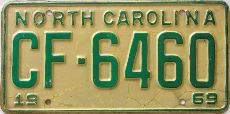 1969 North Carolina license plate for sale