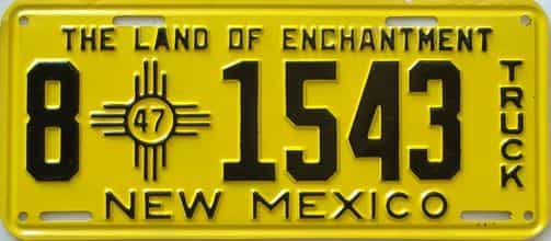 1947 New Mexico (Truck) license plate for sale