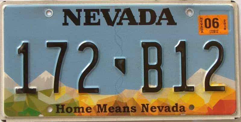 2018 Nevada (Single) license plate for sale