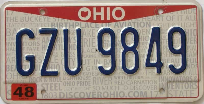 Ohio  (Single) license plate for sale
