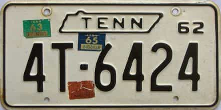 1965 Tennessee (Single) license plate for sale