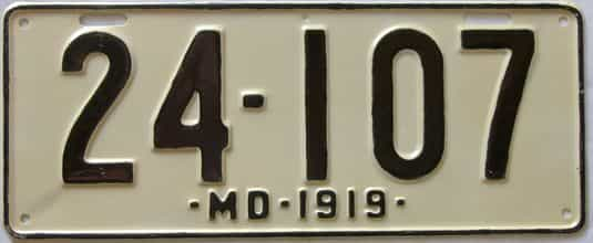1919 Maryland (Very Nice Older Repaint) license plate for sale