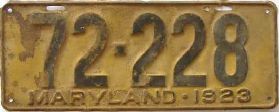 1923 Maryland (Single) license plate for sale