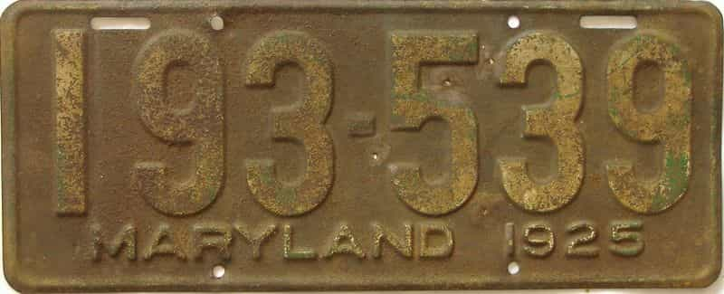 1925 Maryland  (Single) license plate for sale