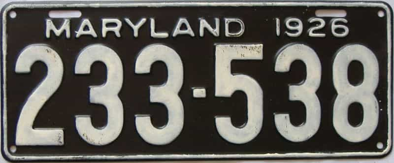 1926 Maryland  (Single) license plate for sale