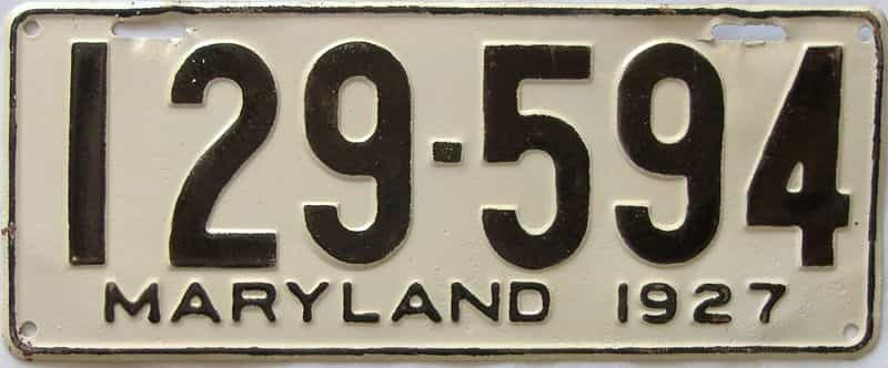 1927 Maryland  (Older Repaint) license plate for sale