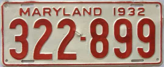 1932 Maryland (Repaint - As Found) license plate for sale