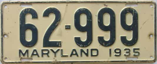1935 Maryland (Single) license plate for sale