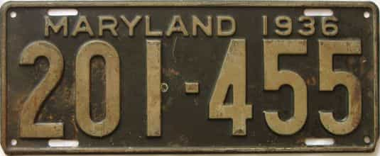 1936 Maryland (Single) license plate for sale