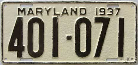 1937 Maryland  (Amatuer Repaint) license plate for sale