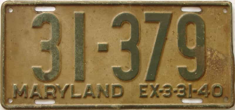 1940 Maryland  (Single) license plate for sale