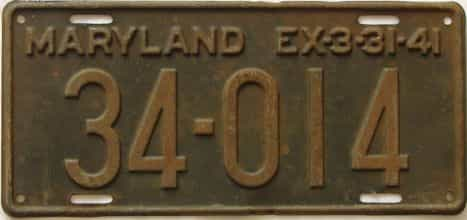 1941 Maryland (Single) license plate for sale