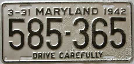 1942 Maryland (Repaint - As Found) license plate for sale