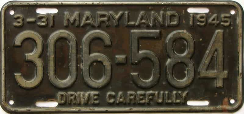 1945 Maryland license plate for sale