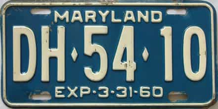 1960 Maryland (Single) license plate for sale