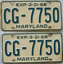 1968 Maryland  (Pair) license plate for sale