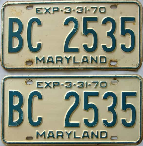 1970 Maryland  (Pair) license plate for sale