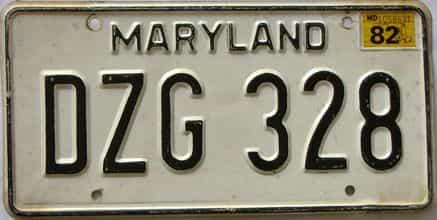 1982 Maryland  (Single) license plate for sale