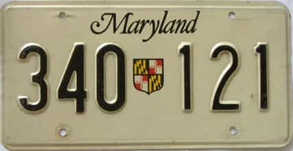 1986 Maryland  (Single) license plate for sale