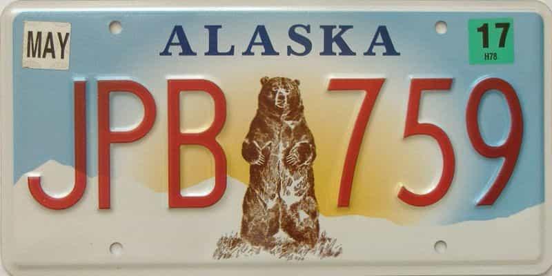 2017 Alaska (Single) license plate for sale