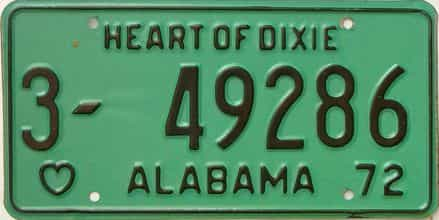 1972 Alabama license plate for sale