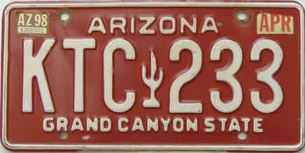 1998 Arizona license plate for sale