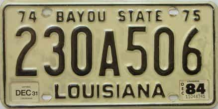 1984 Louisiana license plate for sale