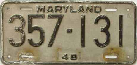 1948 Maryland (Single) license plate for sale