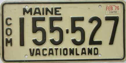 1976 Maine (Non Passenger) license plate for sale